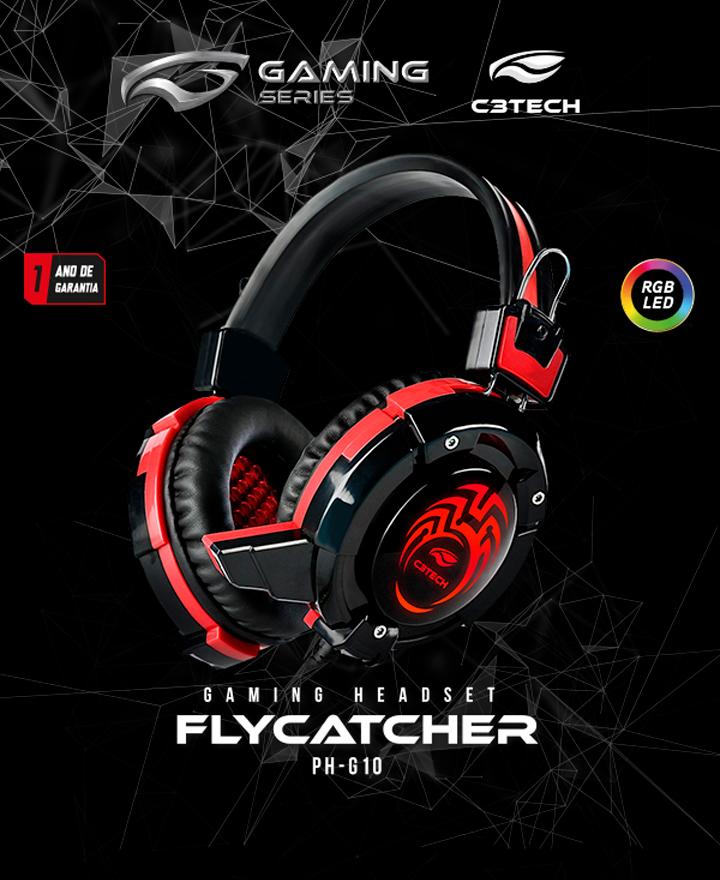 Headset Gamer C3 Tech Flycatcher, P2 e USB, Preto e Vermelho - PH-G10BK |  KaBuM!